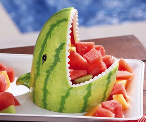 shark, watermelon, and fruit image