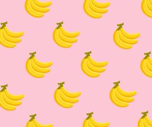 banana, background, and pink image