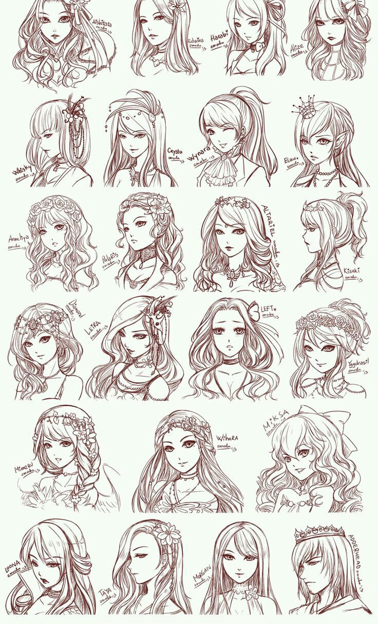 Several Manga Girls With Different Hairstyles