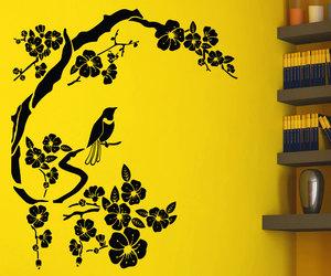 bird, sakura, and sticker image