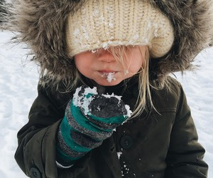 snow, girl, and baby image