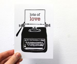 typewriter, love, and illustratration image