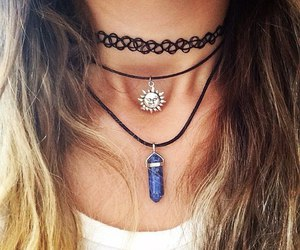 necklace, grunge, and hair image