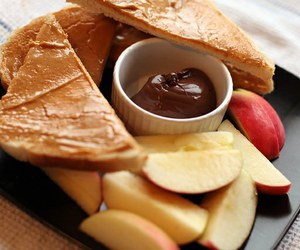 food, chocolate, and apple image