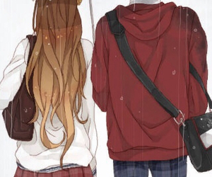 anime, rainy, and couple image
