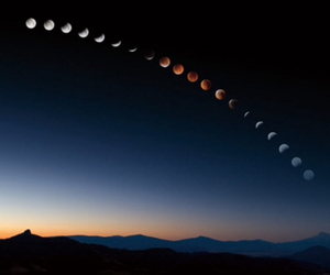 dark, moon, and mountains image
