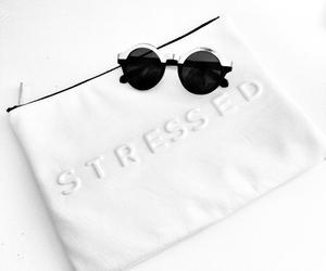 sunglasses, white, and stressed image