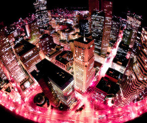 city, night, and pink image