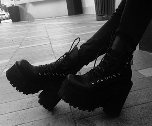 alternative, shoes, and black and white image