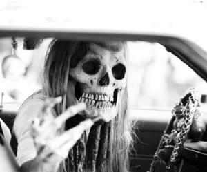 skull, girl, and black and white image