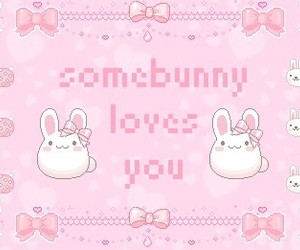 kawaii, pink, and bunny image