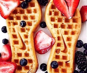 nike, waffles, and food image