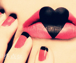 lips, pink, and heart image