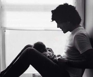 child, dad, and one direction image