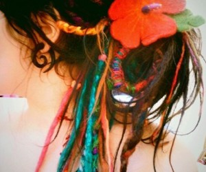 brown hair, colorful, and dreadlocks image