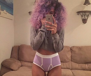 curly hair, Afro, and purple image