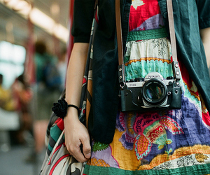camera, girl, and colourful image