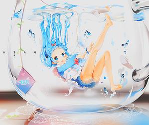 anime, water, and kawaii image