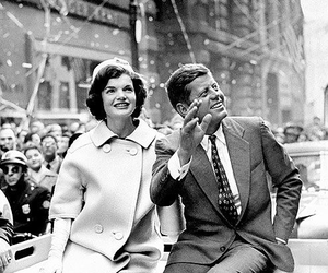 black and white, Jackie Kennedy, and JFK image