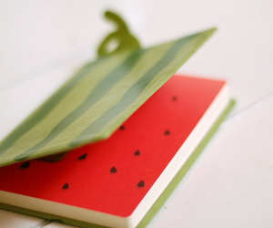 notebook, watermelon, and kawaii image