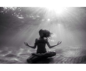 black and white, sea, and underwater image