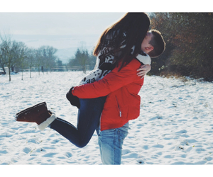 love, boy, and snow image