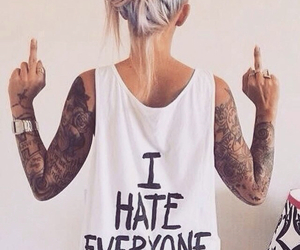 tattoo, girl, and hate image