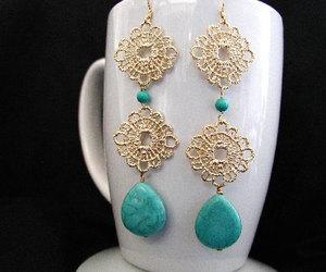 earrings, turquoise beads, and dangle earrings image