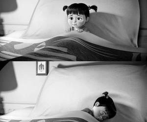 black and white, monsters inc, and boo image