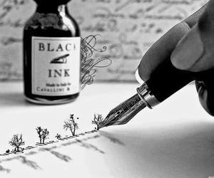 ink, black and white, and black image