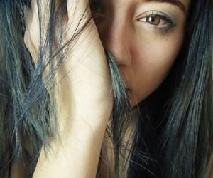bluehair, eyes, and girl image