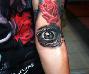 tattoo, rose, and eye image
