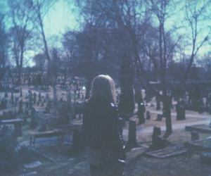 girl and cemetery image