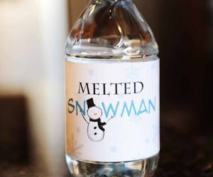snowman, water, and bottle image