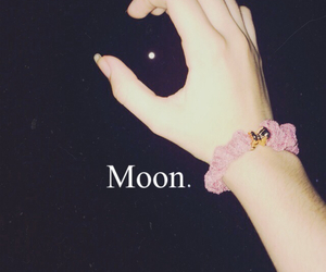 hand, moon, and night image