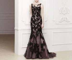 black and white, dress, and prom dress image