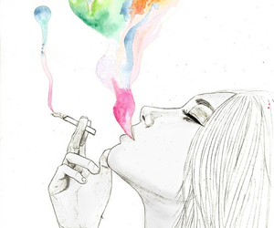 girl, cigarette, and drawing image