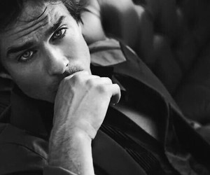 beautiful, damon, and black and white image