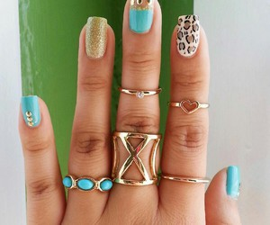 light blue, nails, and rings image