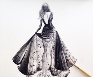 dress, drawing, and art image