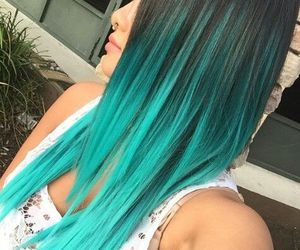 blue hair, color hair, and girl image