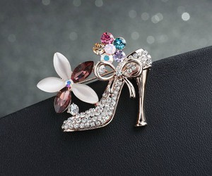 rose gold, high heel shoe, and crystal flower brooch image