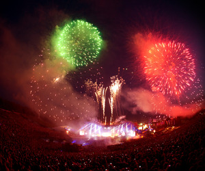 Tomorrowland, fireworks, and party image