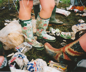 camping, gumboots, and vintage image