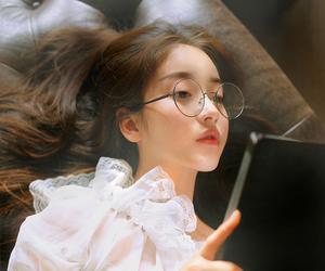 girl, beautiful, and book image