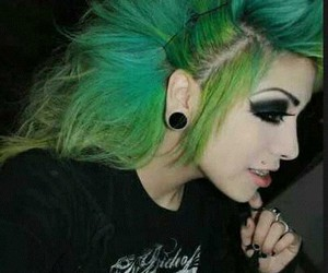 hair, punk, and green hair image