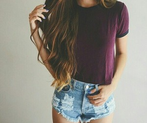 fashion, hair style, and shorts image