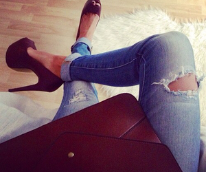 fashion, jeans, and heels image