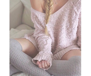 blond hair, girl, and pale image