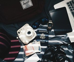 camera, passport, and travel image